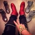 Hot Moda de Alta Qualidade Cores Misturadas Hook & Loop Flats Formadores homens Sapatos de Alta Top Calçados Casuais Dos Homens Tamanho Grande 37-47 Zapatos Muje
