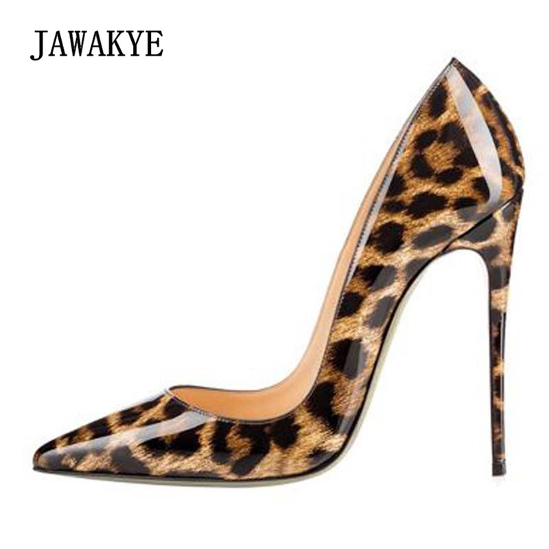 2018 Leopard Sexy High Heel Shoes Woman Pointed Toe 8CM 10cm 12cm Heel Pumps Women Chic Party Shoes 2018 sexy horsehair high heel shoes woman pointed toe leopard metal thin heel pumps women fashion party shoes dress