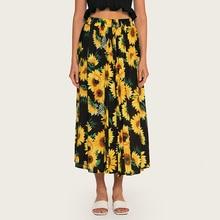 AcFirst Summer Black Bohemian Women Fashion Sexy Skirt High Waist Mid-calf Flower Printed Long Skirts Beath A-Line