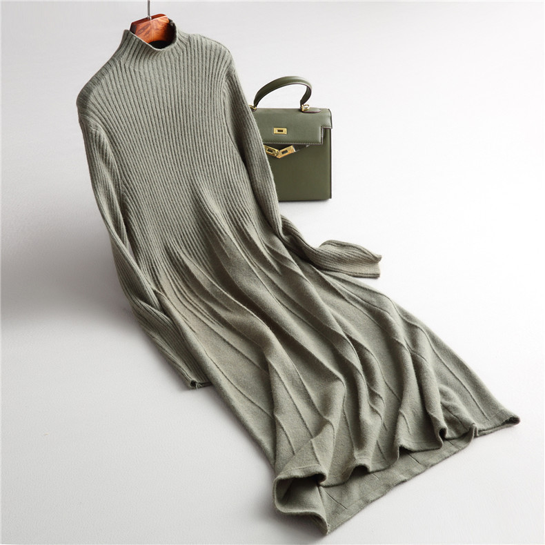 INNASOFAN dress female Autumn winter knitted warm dress Euro American fashion elegant dress solid color with