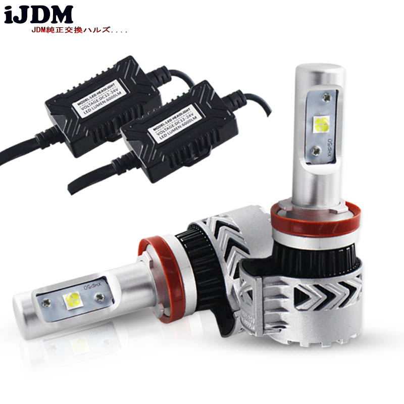 iJDM Car H4 H7 H11 LED Bulbs White 9005 HB3 9006 HB4 H1 H3 H8 LED