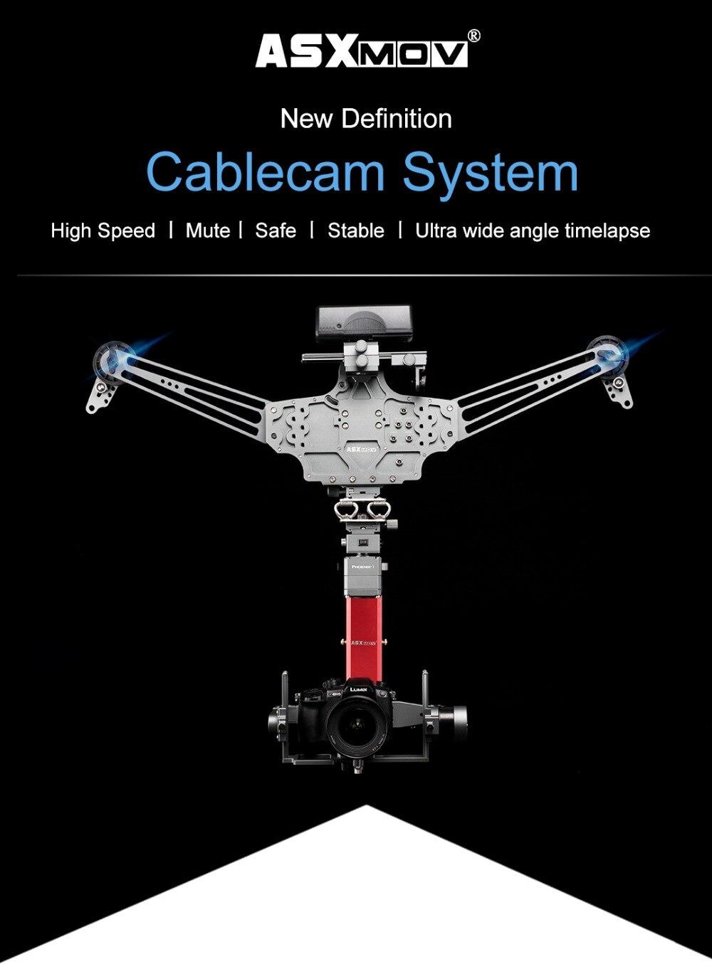ASXMOV 4 m/s 20 kg carga útil panorama timelapse disparo de vídeo aéreo cardán enfoque cablecam sistema APP control inalámbrico