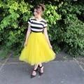 Inglaterra Amarillo Color Sólido Faldas de Tul Longitud Del Tobillo de Puffy Tutu Falda Para Las Mujeres del Estilo de La Cremallera de la Alta Calidad Por Encargo