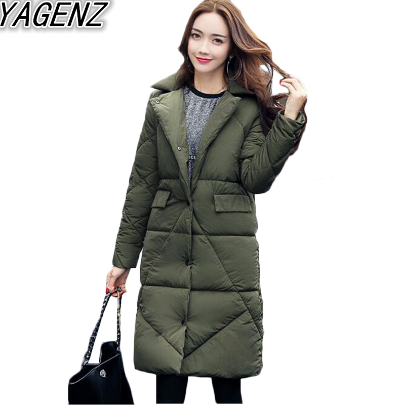 2017 Le long Manteau army Red Mode Brown Femmes Mince Moyen Survêtement Coton breasted Bas Vers Black Hiver dark gray De Casual Yagenz Veste Femelle Single Green win Ifqwv0P