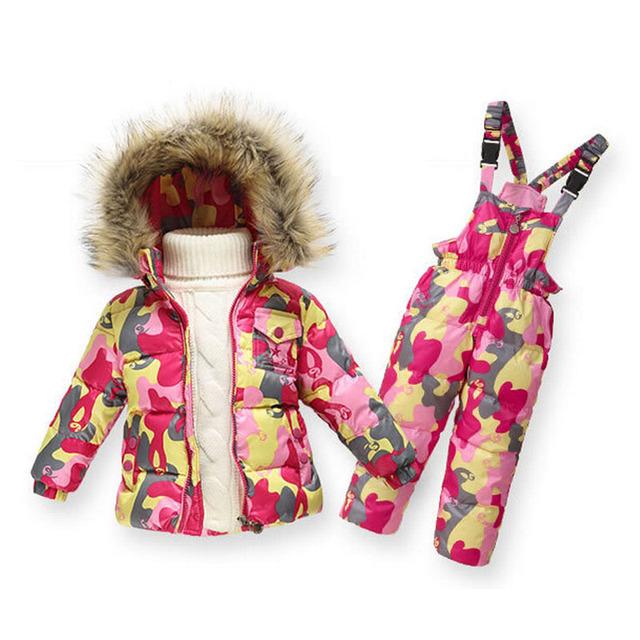2 Pçs/sets Novos Meninos Meninas de Inverno Para Baixo Parkas Encapuzados Jaqueta + Macacão Esportes Dos Miúdos das Crianças 18M-6Y Roupas Terno de Esqui ao ar livre SC629