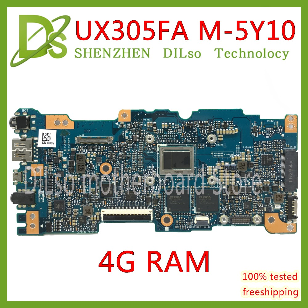KEFU UX305FA motherboard for ASUS UX305FA UX305 UX305F laptop motherboard original notebook 4G MOMERY 5Y10C CPU 100% Test for asus ux305 ux305ca ux305la ux305fa 13 3 inch touch panel with digitizer