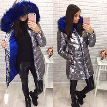 Winter Jacket Women Silver Rose-carmine Faux Fur Hooded Thick Outerwear Bright Metallic Color Warm Parkas