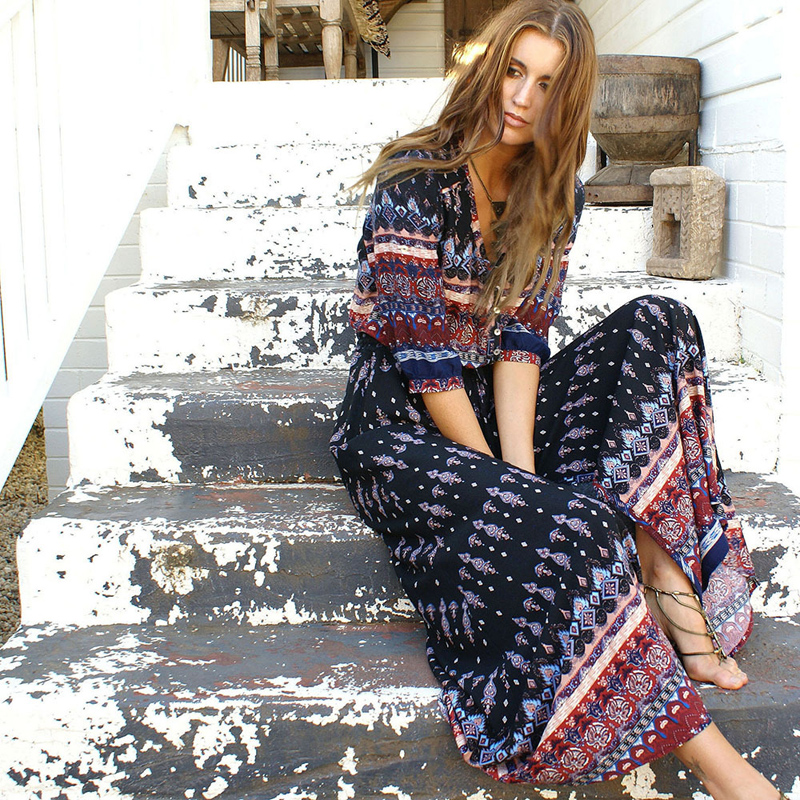 Boho Vintage Floral Print Maxi Long Dresses Women 2018 New Fashion V Neck Summer Beach Dress Robe Femme Vestidos Mujer Plus Size 1