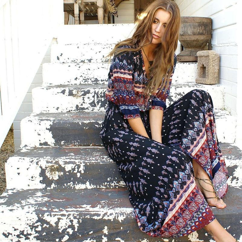 Boho Vintage Floral Print Maxi Long Dresses Women 2018 New Fashion V Neck Summer Beach Dress Robe Femme Vestidos Mujer Plus Size 1