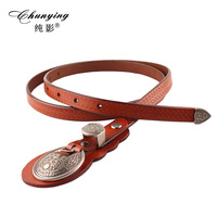 Autumn And Winter Trend Agings Carved National Genuine Leather One Piece Dress Thin Belt Women S