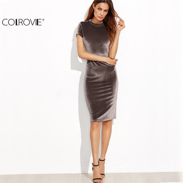 COLROVIE Brown Velvet Sheath Dress Office Ladies Bodycon Midi Autumn Slim Pencil Dress Elegant Work Wear Knee Length Dress