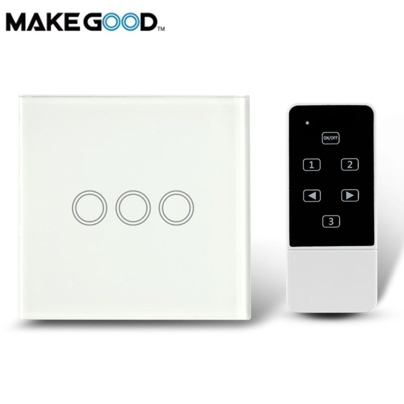MakeGood UK Standard Touch & Remote Switch,Crystal Glass Panel,Light Touch Switch AC 110-250V Compatible Broadlink RM2 RM Pro