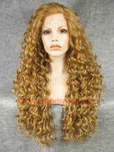 N18-27HY/27 Fashion Stunning Curly blonde Synthetic Lace Front Wig Rupaul Wig Free Shipping