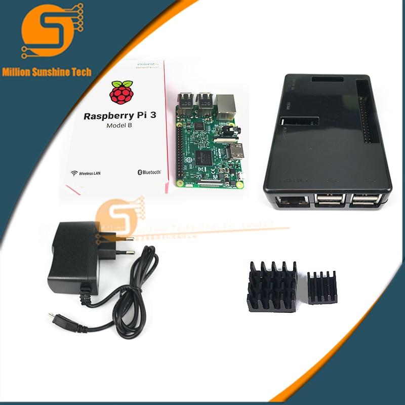 Raspberry Pi 3 Board + 5V 2.5A Power Supply + Case + Heat Sink for Raspberry Pi 3 WiFi & Bluetooth free Shipping free shipping pure nature raspberry extract raspberry ketones powder 500mg x 100caps