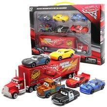 Relâmpago mcqueen 7 pçs/set pixar carros 3, jackson tempestado cruz, tio mack mater caminhão 1:55 diecast, modelo de carro de metal, menino brinquedo,
