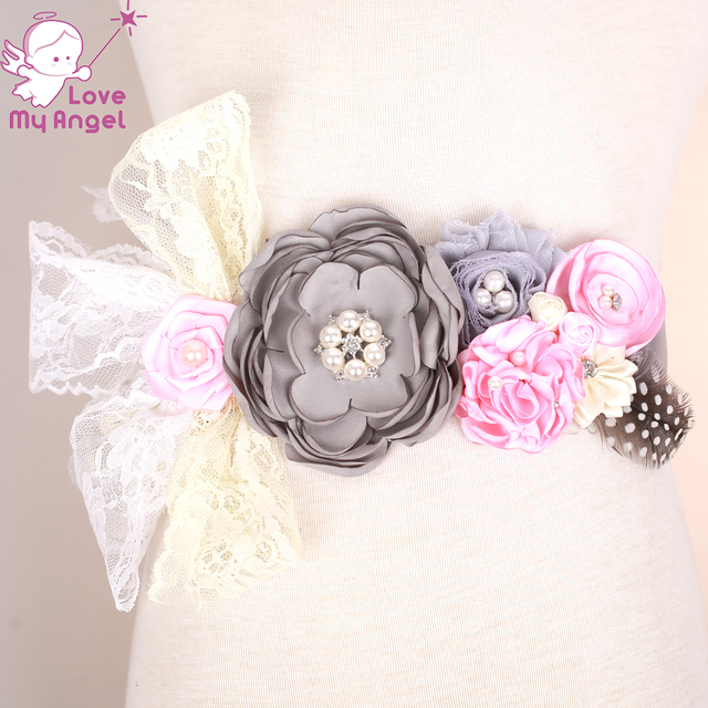1pcs Pink and grey maternity sash flower girl sash belt lace satin shabby  feather floral sash fb86f4ff5f31