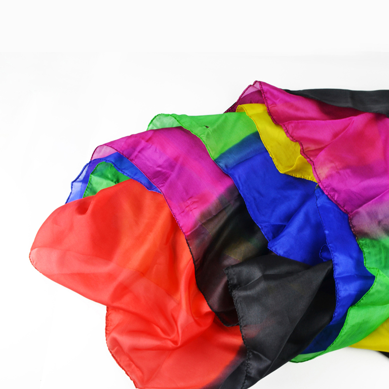 Rainbow Silk Streamer 45CM*1000CM Silk Fountain Waterfall Silk Magic Ultra-thin silk scarf magician Trick Email Video to you стоимость