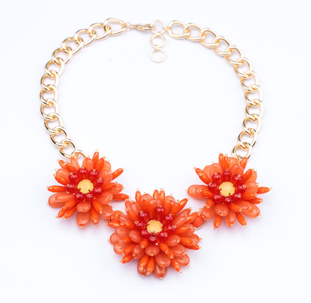 Fashion shiny gold color white orange acrylic stone women flower fashion shiny gold color white orange acrylic stone women flower statement necklace mightylinksfo