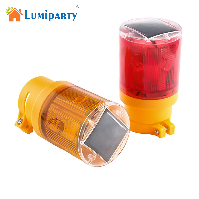 Lumiparty Solar LED Emergency Lamp 100 LM Bright Flashlight Traffic Warning Light With Solar Panel Battery Blinker For Outdoor