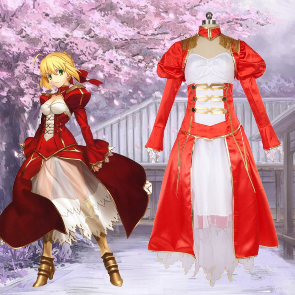 Hot Fate EXTRA Cosplay Costume Nero Claudius Caesar Augustus Germanicus Cosplay Costume Red Saber Dress Halloween Carnival Party