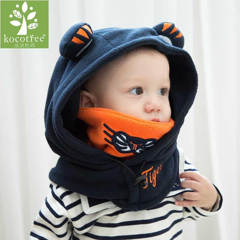 Stijlvolle Winter Outdoor Zwart Wol Tijger Zachte Warme Hoeden Voor Baby Jongens Meisjes Shawl Hooded Cowl Beanie Cap Voor 0 -10 jaar Oude Kind