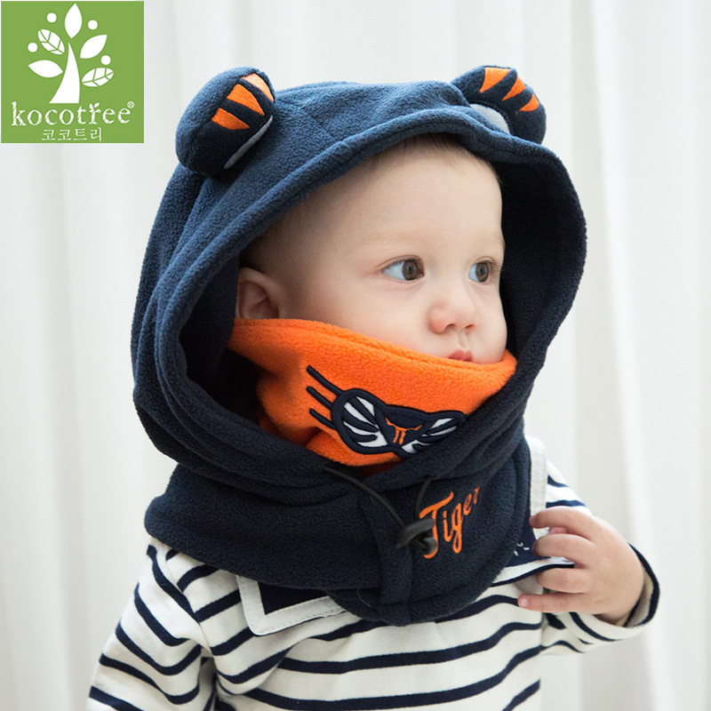 Stylish Winter Outdoor Black Wool Tiger Soft Warm Hats For Baby Boys Girls Shawl Hooded Cowl Beanie Cap For 0-10 Years Old Kid stylish stripe pattern fringed shawl wrap pashmina