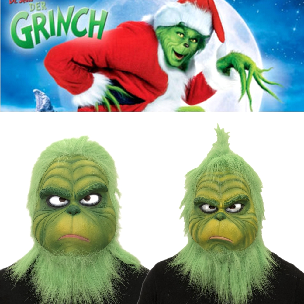 The Grinch Mask Adult Latex Movie Cosplay How the Grinch Stole Christmas Costume Props with Green Hair Christmas Party