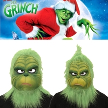 лучшая цена The Grinch Mask Adult Latex Movie Cosplay How the Grinch Stole Christmas Costume Props with Green Hair Christmas Party