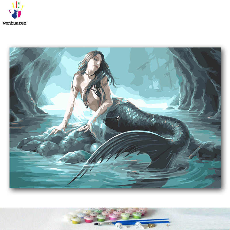 DIY colorings pictures by numbers with colors Daughter of the sea Beauty legend picture drawing painting by numbers framed