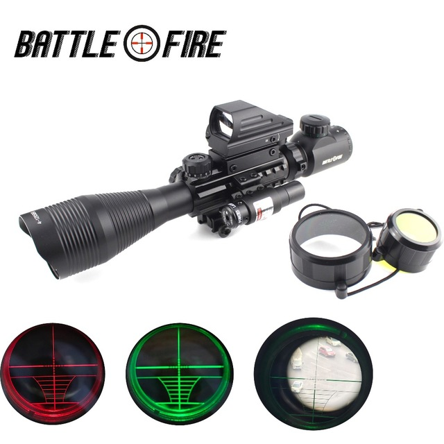 4-12x50 Illuminated Rangefinder Reticle Rifle scope Holographic 4 Reticle Sight red green laser combo riflescope  for hunting
