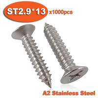 1000pcs DIN7982 ST2.9 x 13 A2 Stainless Steel Self Tapping Screw Cross Recessed Countersunk Head Self-tapping Screws