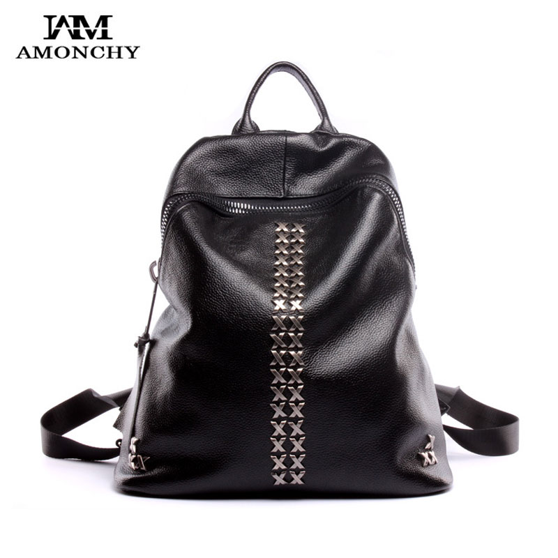 100 Genuine Leather Women Backpacks Fashion Rivet Backpack Ladies Leather Backpacks Brand Girl School Bags Daily