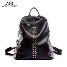 100% натуральная кожа женские рюкзаки модные заклепки рюкзак Женская кожаная обувь рюкзаки бренда для девочек школьные сумки ежедневно черный рюкзак