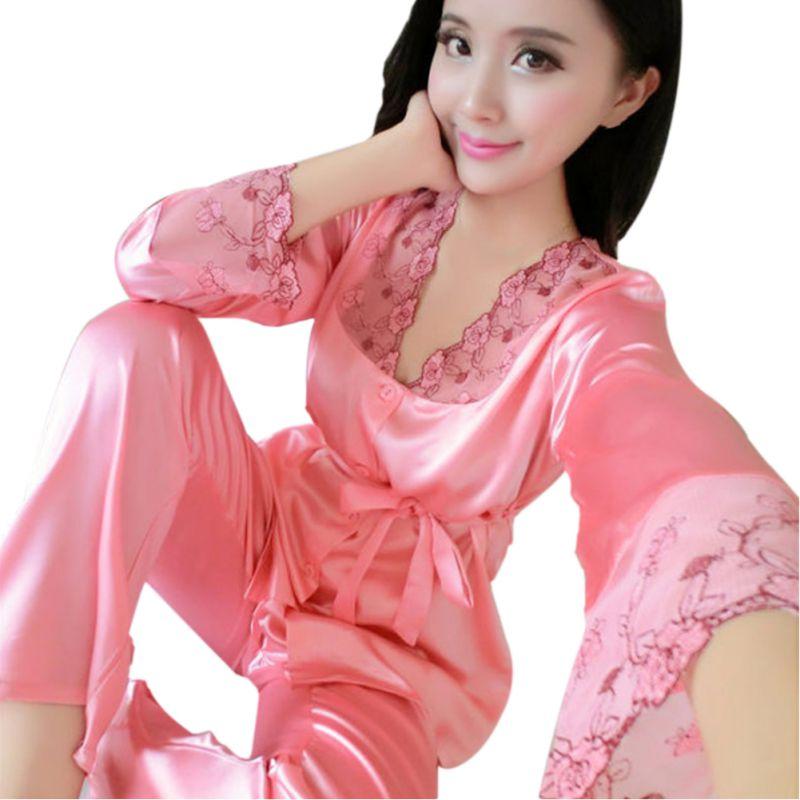 2 Pieces Women Satin Silk Lace Long Sleeve Casual Nightwear Sleepwear Pajama Set Women Nightgowns pyjama femme