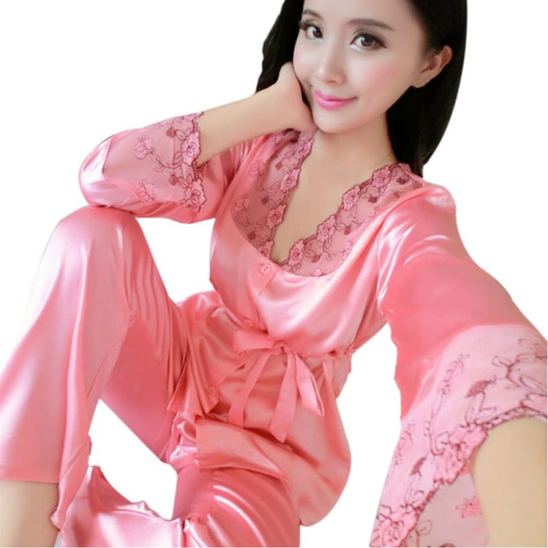 2 Pieces Women Satin Silk Lace Long Sleeve Casual Nightwear Sleepwear   Pajama     Set   Women Nightgowns pyjama femme
