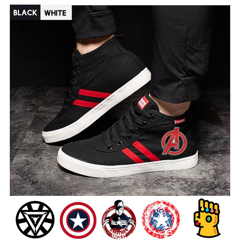 Marvel Superhero Movie Captain America Thanos Iron Man high top canvas uppers student personalise fashion A193291 in Men 39 s Vulcanize Shoes from Shoes