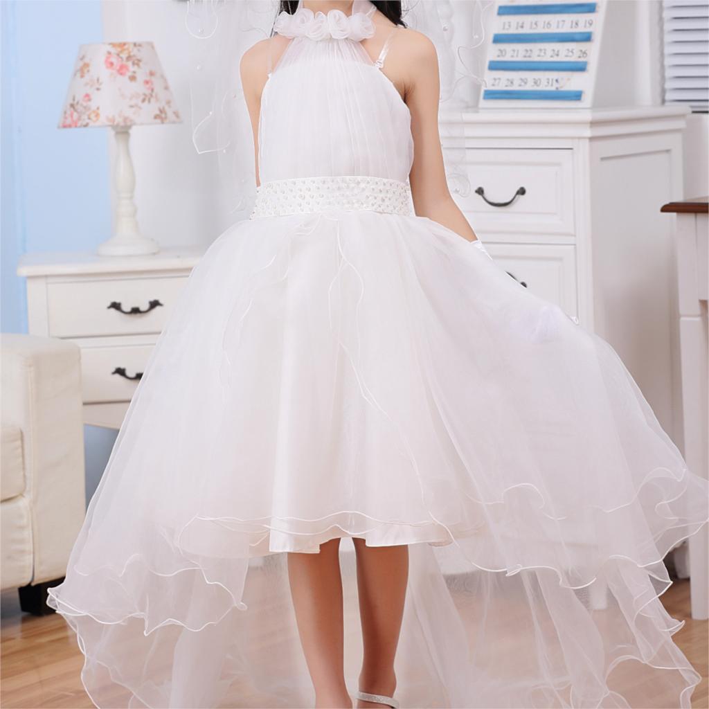 2017 Brand New Halter Design Princess Flower Girl Dress White Vestidos For Wedding Children Clothes For Party SKD014257 marsnaska brand new white