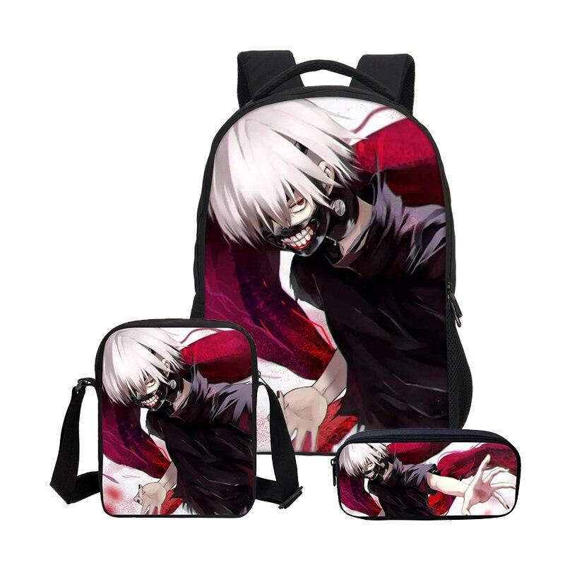 Veevanv Anime Tokyo Ghoul 3 Pcs/setcombination Backpacks For Boys Girls School Bookbag Casual Shoulder Bag Daily Bag Mochila
