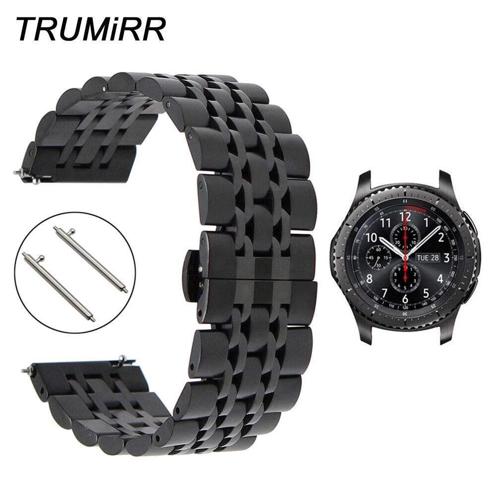 22mm Edelstahl Armband + Quick Release Pins für Samsung Getriebe S3 Klassische Frontier Uhr Band Handgelenk Strap Link- armband