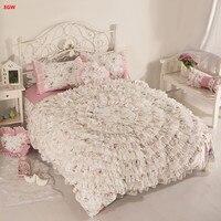 Pink disk flower wedding bedding set 100%cotton Korean style bed skirt set blue princess duvet cover pillowcases home textile