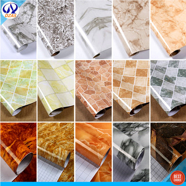 PVC Imitation Marble Self Adhesive Background Wall Paper Kitchen Oil Proof Table Bathroom Tile