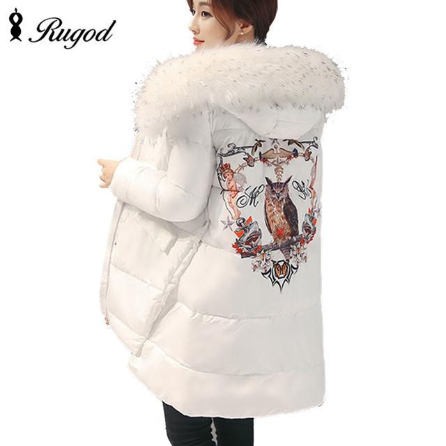 Novo 2017 Grosso Parka Mulheres Plus Size Jaqueta de Inverno Coruja impressão Senhoras Casaco Com Capuz Para Baixo Casacos De Neve Desgaste de Algodão Feminino Outerwear