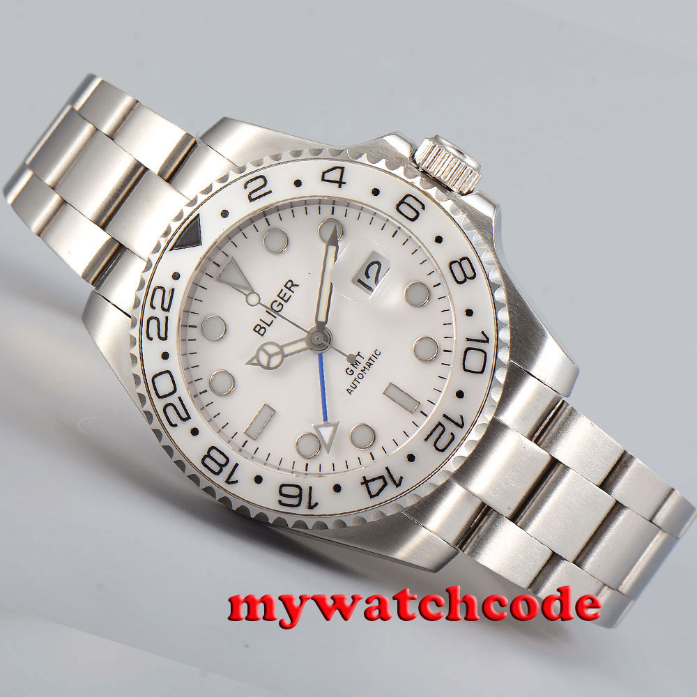 40mm bliger white dial GMT ceramic Bezel sapphire glass automatic mens watch 199 40mm bliger white dial gmt ceramic bezel sapphire glass automatic mens watch 199