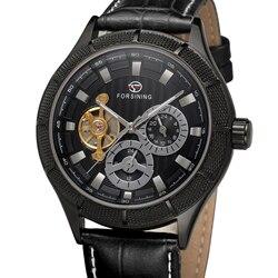 2019 Forsining Top marka mężczyźni automatyczny zegarek Men Tourbillon mechaniczny ubierają skórzane zegarki męskie dżetów złota róża zegar
