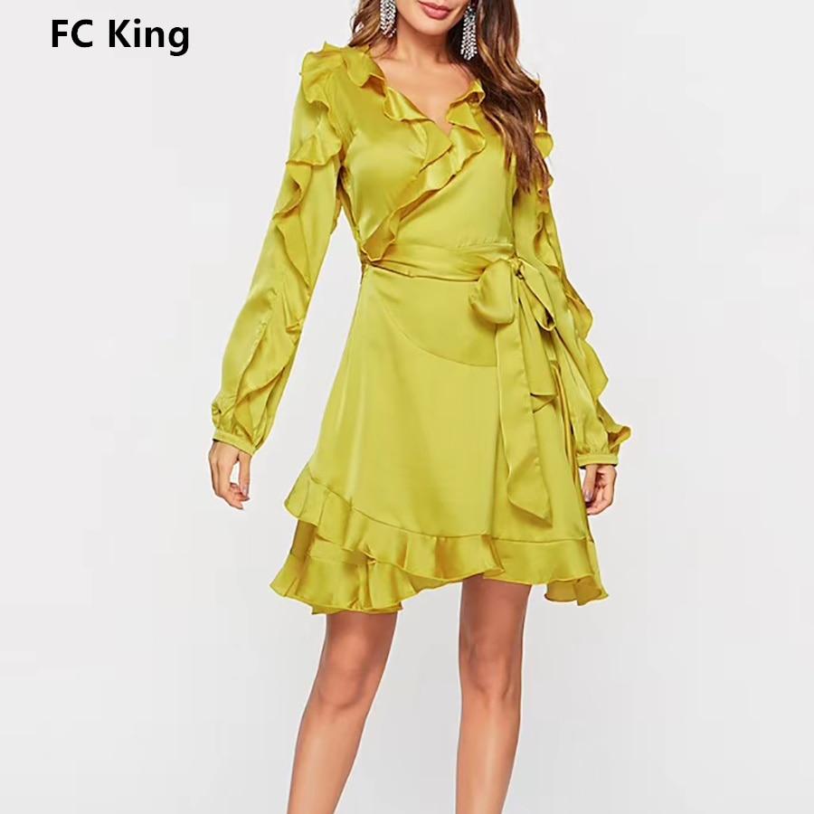 Luxury Brand 2018 Autumn Dress Women Sexy V Neck Ruffles Drawstring Bow Mini dress Artificial Silk Patchwork Casual Dress
