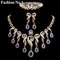 4 Unids de Lujo Nupcial de La Boda set de Joyas de Oro Plateado Cristales Perlas Gota de Agua Declaración de La Borla Collar Pendiente Anillo Pulseras