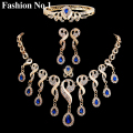 4Pcs Luxury Wedding Bridal Jewelry Sets Gold Plated Crystals Water Drop Beads Tassel Statement Necklace Earring Ring Bracelets