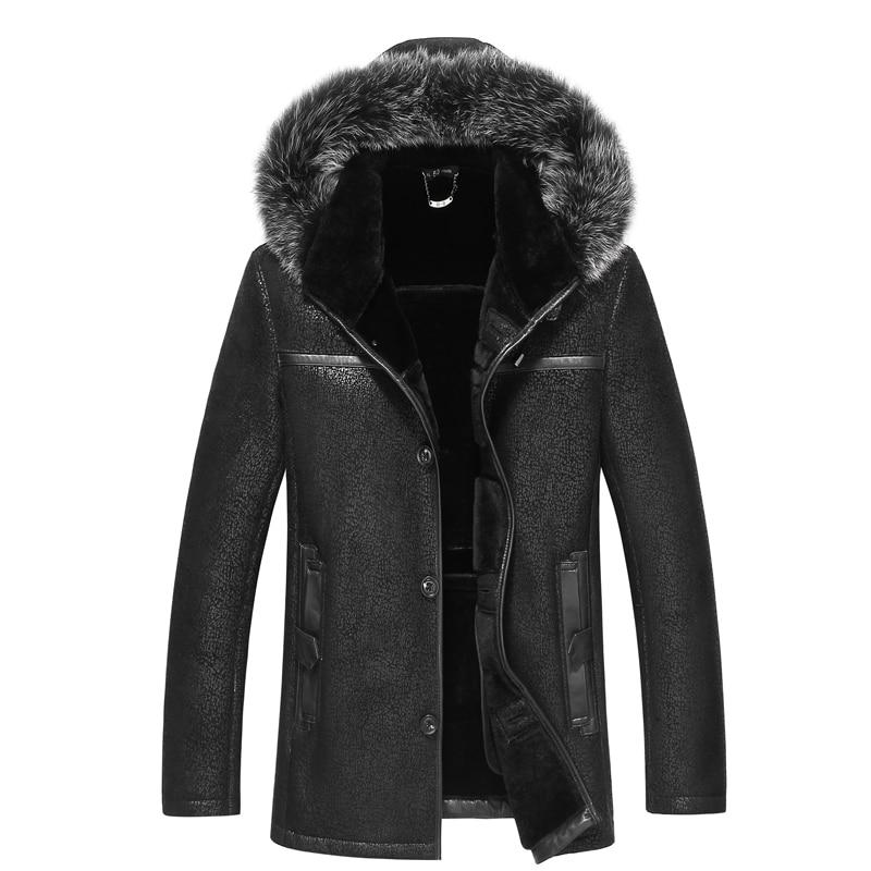 High Quality Winter Men Wool Fur coat Real Fox fur collar hooded coats men jacket real wool fur coloured parka(China)