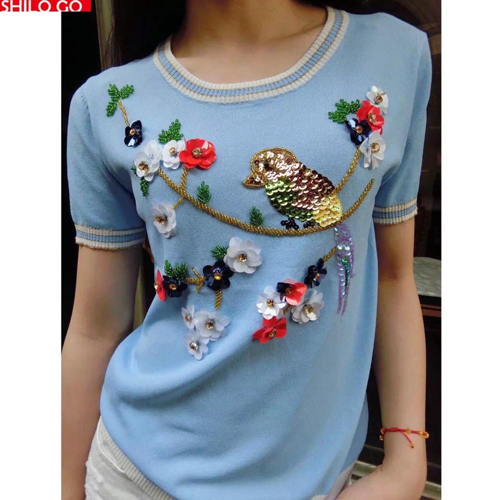 2016 new summer fashion women high quality flowers and embroidered sequins beading round neck short sleeved