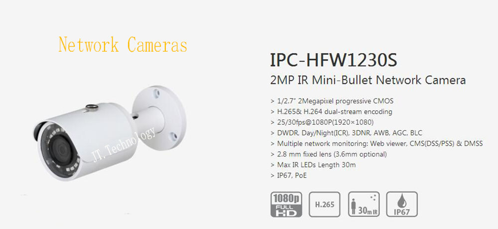 In Stock dahua Free Shipping CCTV IP Camera 2MP Surveillance IR Mini-Bullet Network Camera With POE IP67 No Logo IPC-HFW1230S цена 2017